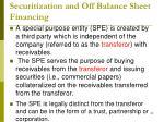 securitization and off balance sheet financing