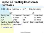 impact on omitting goods from purchases
