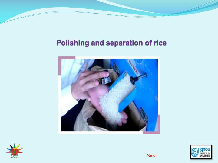 polishing and separation of rice n.