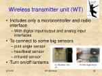 wireless transmitter unit wt