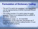 formulation of dictionary coding1