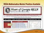 resa mathematics mentor position available