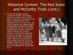 historical context the red scare and mccarthy trials cont1