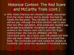 historical context the red scare and mccarthy trials cont2