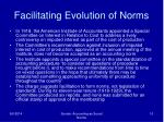 facilitating evolution of norms