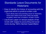 standards leave documents for historians