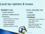 local tax options issues