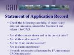 statement of application record