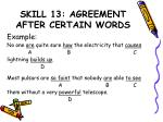 skill 13 agreement after certain words