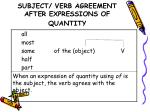 subject verb agreement after expressions of quantity