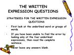 the written expression questions