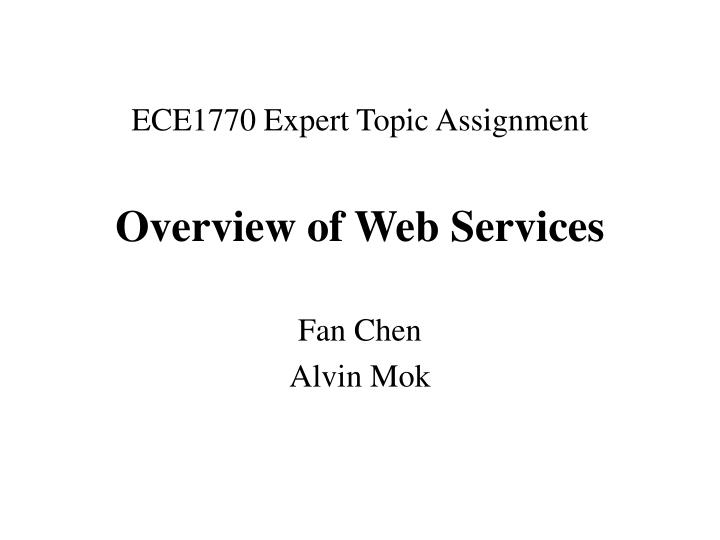 overview of web services n.