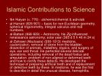 islamic contributions to science