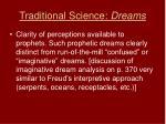 traditional science dreams