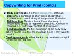 copywriting for print contd
