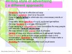 writing style of advertising a different approach