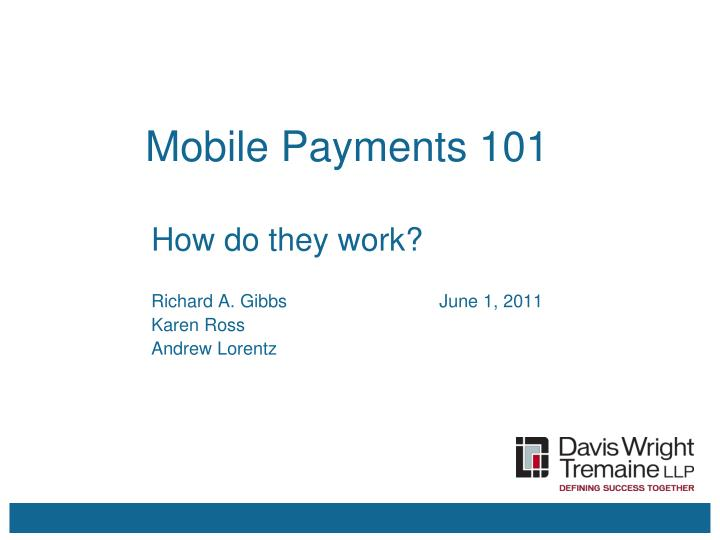 mobile payments 101 n.