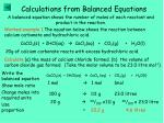 calculations from balanced equations