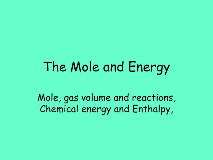 the mole and energy n.