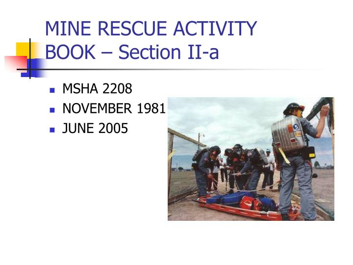 mine rescue activity book section ii a n.