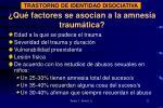 qu factores se asocian a la amnesia traum tica