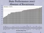 state performance 2007 absence of recurrence