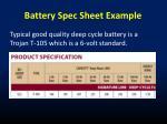 battery spec sheet example