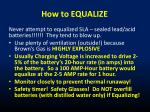 how to equalize