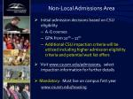 non local admissions area