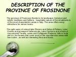 description of the province of frosinone