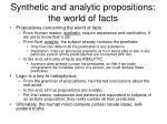 synthetic and analytic propositions the world of facts