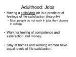 adulthood jobs