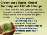 greenhouse gases global warming and climate change