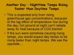 another key nighttime temps rising faster than daytime temps
