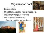 organization cont