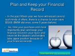 plan and keep your financial record