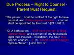 due process right to counsel parent must request