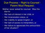 due process right to counsel parent must request1
