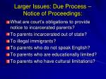 larger issues due process notice of proceedings