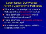 larger issues due process parent s opportunity to participate