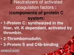 2 neutralizers of activated coagulation factors components of protein c system