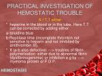 practical investigation of hemostatic trouble4