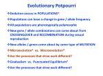 evolutionary potpourri