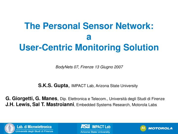 the personal sensor network a user centric monitoring solution n.