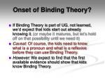 onset of binding theory