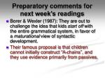 preparatory comments for next week s readings