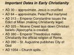 important dates in early christianity