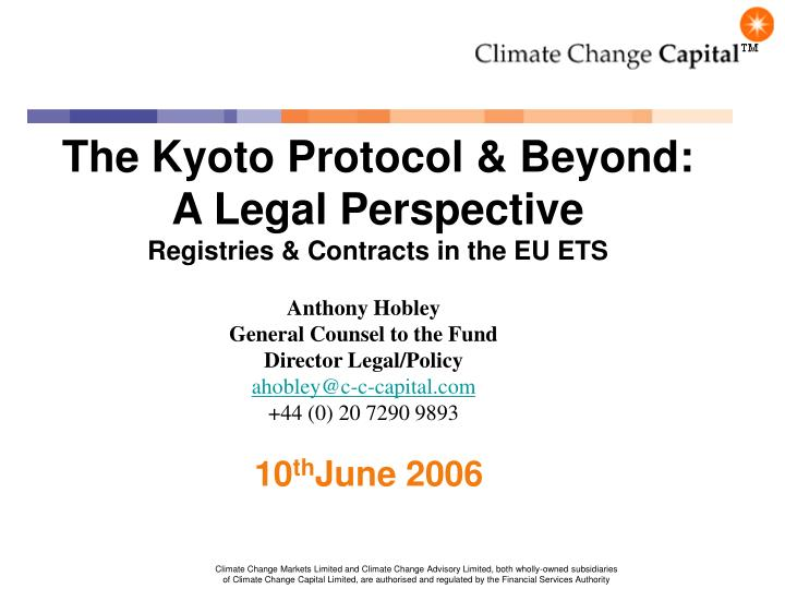 the kyoto protocol beyond a legal perspective registries contracts in the eu ets n.