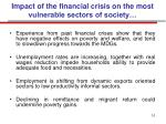 impact of the financial crisis on the most vulnerable sectors of society