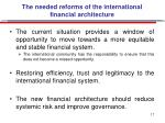 the needed reforms of the international financial architecture